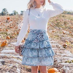 Vintage 80's Acid Wash Ruffle Skirt S
